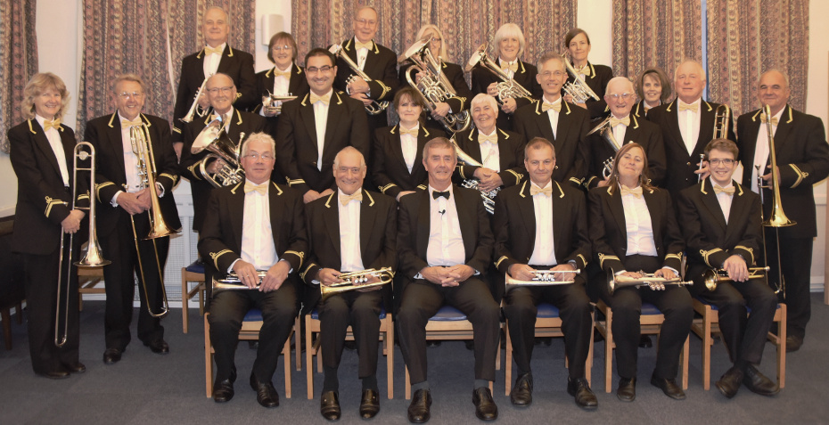 The Band before the Autumn concert in Crediton's newly refurbished Methodist Church, September 2019.